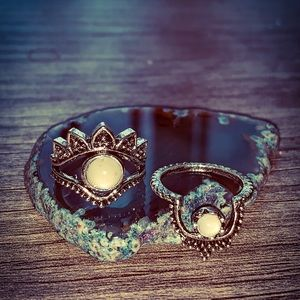 2 Handmade Silver ☀️ Sun Polished Quartz Rings